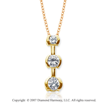 18k Yellow Gold 3 Stone 1 Carat Half Bezel Diamond Pendant