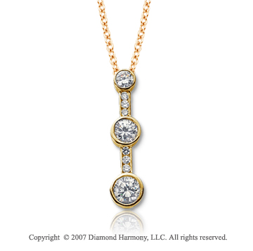18k Y Gold 3 Stone 1/2 Carat Bezel Channel Diamond Pendant