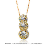 18k Yellow Gold 3 Stone 3/4 Carat Pave Rim Diamond Pendant