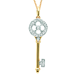 14k Yellow Gold 1/8 Carat Diamond Clover Key Pendant