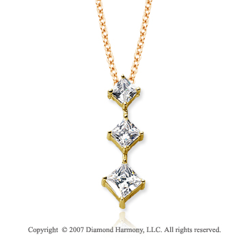 18k Y Gold 3 Stone 1 Carat Princess Stem Diamond Pendant