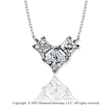 Platinum 3 Stone 3/4 Carat Princess Wing Diamond Pendant