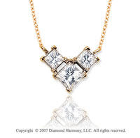 18k Y Gold 3 Stone 1.00 Carat Princess Wing Diamond Pendant