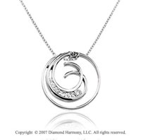 1/3 Carat Diamond 14k White Gold Stylish Round Curl Journey Pendant