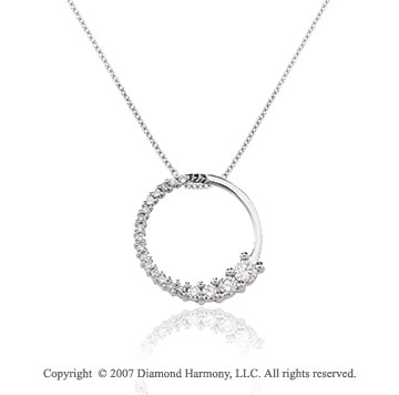 1/2 Carat Diamond 14k White Gold Round Prong Journey Pendant