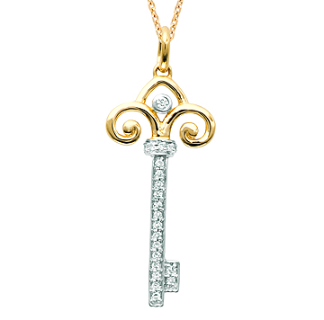 14k Yellow Gold 1/10 Carat Diamond Fleur De Lis Key Pendant