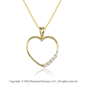 1/5 Carat Diamond 14k Yellow Gold Stylish Heart Journey Pendant