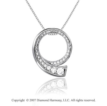 1/3 Carat Diamond 14k White Gold Unique Elegant Journey Pendant