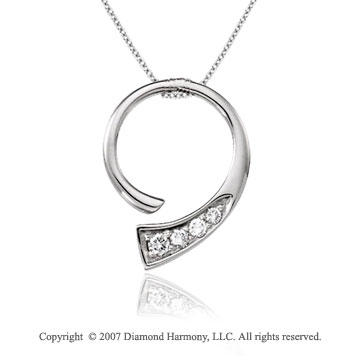 1/4 Carat Diamond 14k White Gold Unique Stylish Journey Pendant