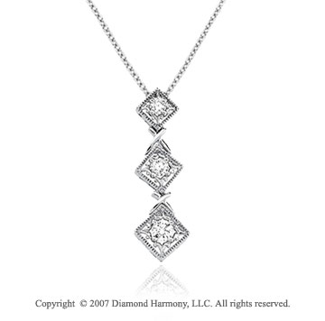 1/2 Carat Diamond 14k White Gold Round Prong Pendant