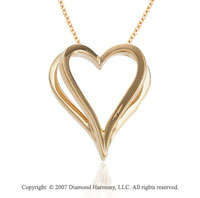 14k Yellow Gold Romantic Open Heart Pendant