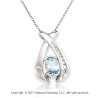 14k White Gold Diamond Aquamarine Round Oval Elegant Pendant