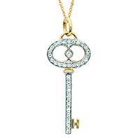 14k Yellow Gold 1/5 Carat Diamond Oval Handle Key Pendant