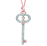 14k Rose Gold 1/5 Carat Diamond Oval Handle Key Pendant