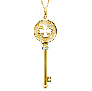 14k Yellow Gold .07 Carat Diamond Clover Key Pendant