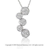 14k White Gold 1/2 Carat 5 Sphere Pave Diamond Cluster
