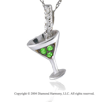 14k Diamond Green Tsavorite Martini Necklace