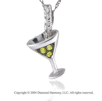 14k Diamond Yellow Sapphire Martini Necklace