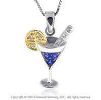 14k Diamond Sapphire Martini w/Lemon Necklace Pendant Charm