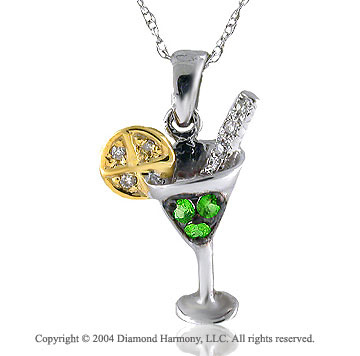 14k Diamond Green Tsavorite Martini Lemon Pendant Necklace