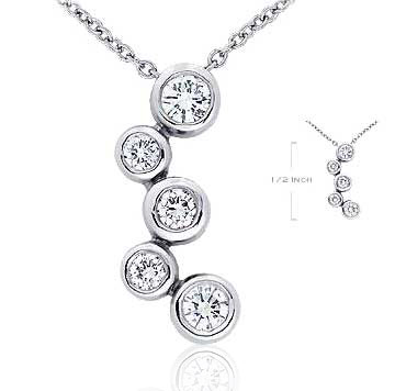 14k White Gold Bubble Spring Lock 1/4 Carat Diamond Pendant