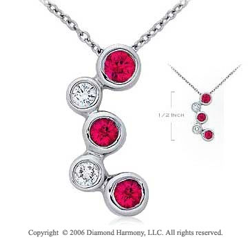 14k White Gold Bubble Spring Lock Ruby Diamond Pendant