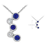 14k White Gold Blue Sapphire Diamond Bubble Pendant