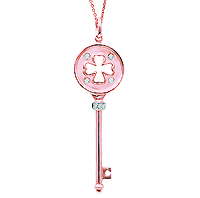 14k Rose Gold .07 Carat Diamond Clover Key Pendant