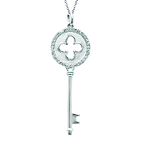 14k White Gold 1/5 Carat Diamond Clover Key Pendant