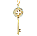 14k Yellow Gold 1/5 Carat Diamond Clover Key Pendant