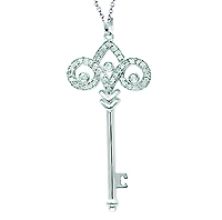 14k White Gold 1/4 Carat Diamond Fleur De Lis Key Pendant