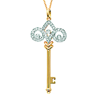 14k Yellow Gold 1/4 Carat Diamond Fleur De Lis Key Pendant