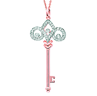 14k Rose Gold 1/4 Carat Diamond Fleur De Lis Key Pendant