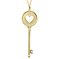 14k Yellow Gold 1/20 Carat Diamond Heart Key Pendant