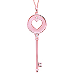 14k Rose Gold 1/20 Carat Diamond Heart Key Pendant
