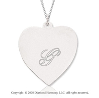 14k White Gold 1  Inch Engraveable Heart Pendant