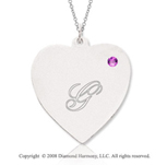 14k White Gold June/ Alexandrite Engraveable Heart Pendant