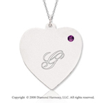 14k White Gold February/ Amethyst Engraveable Heart Pendant