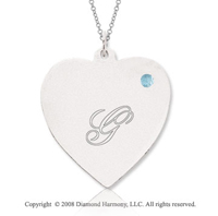 14k White Gold March/ Aquamarine Engraveable Heart Pendant