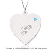 14k White Gold December/ Bl Topaz Engraveable Heart Pendant