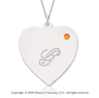 14k White Gold November/ Citrine Engraveable Heart Pendant
