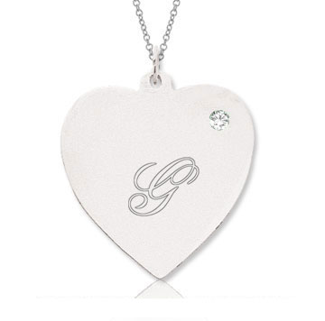 14k White Gold April/ Diamond Engraveable Heart Pendant