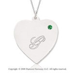 14k White Gold May/ Emerald Engraveable Heart Pendant