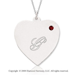 14k White Gold January/ Garnet Engraveable Heart Pendant
