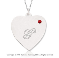 14k White Gold July/ Ruby Engraveable Heart Pendant