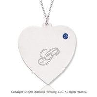 14k White Gold September/ Sapphire Engraveable Heart Pendant