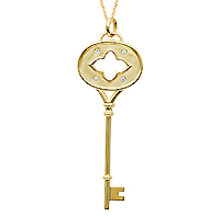 14k Yellow Gold 1/10 Carat Diamond Clover Key Pendant