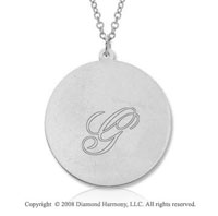 14k White Gold 1  Inch Round Engraveable Pendant