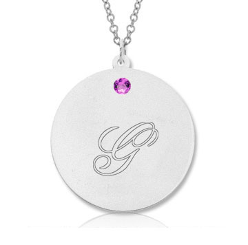 14k White Gold June/ Alexandrite Round Engraveable Pendant