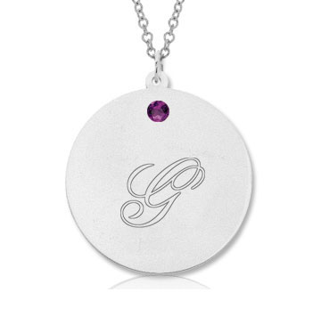 14k White Gold February/ Amethyst Round Engraveable Pendant